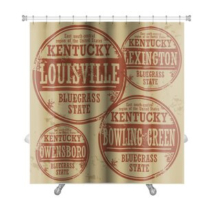 Vintage Grunge Rubber Stamp Set with Names of Kentucky Cities Premium Shower Curtain ByGear New