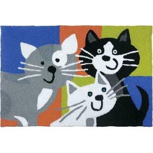 Beatley Kitty Klatch Hand-Tufted Black/Gray/Blue Indoor/Outdoor Area Rug