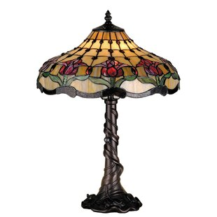 Look for Victorian Nouveau Colonial Tulip 19.5 Table Lamp By Meyda Tiffany
