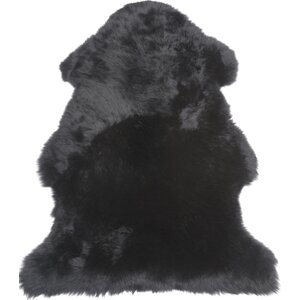 Single Pelt Black Area Rug