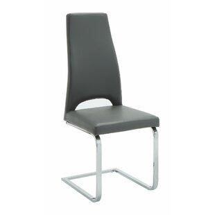 Orren Ellis Valluri High Back Cantilever Base Genuine Leather Upholstered Dining Chair (Set of 2)