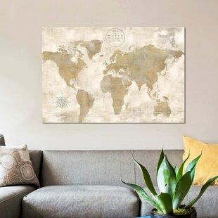 Rustic World Map Wall Art Wayfair