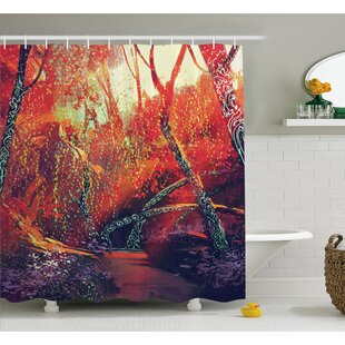 Fall Autumn Scenery in Habitat Fairy Tale Woodland Fiction View Shower Curtain Set