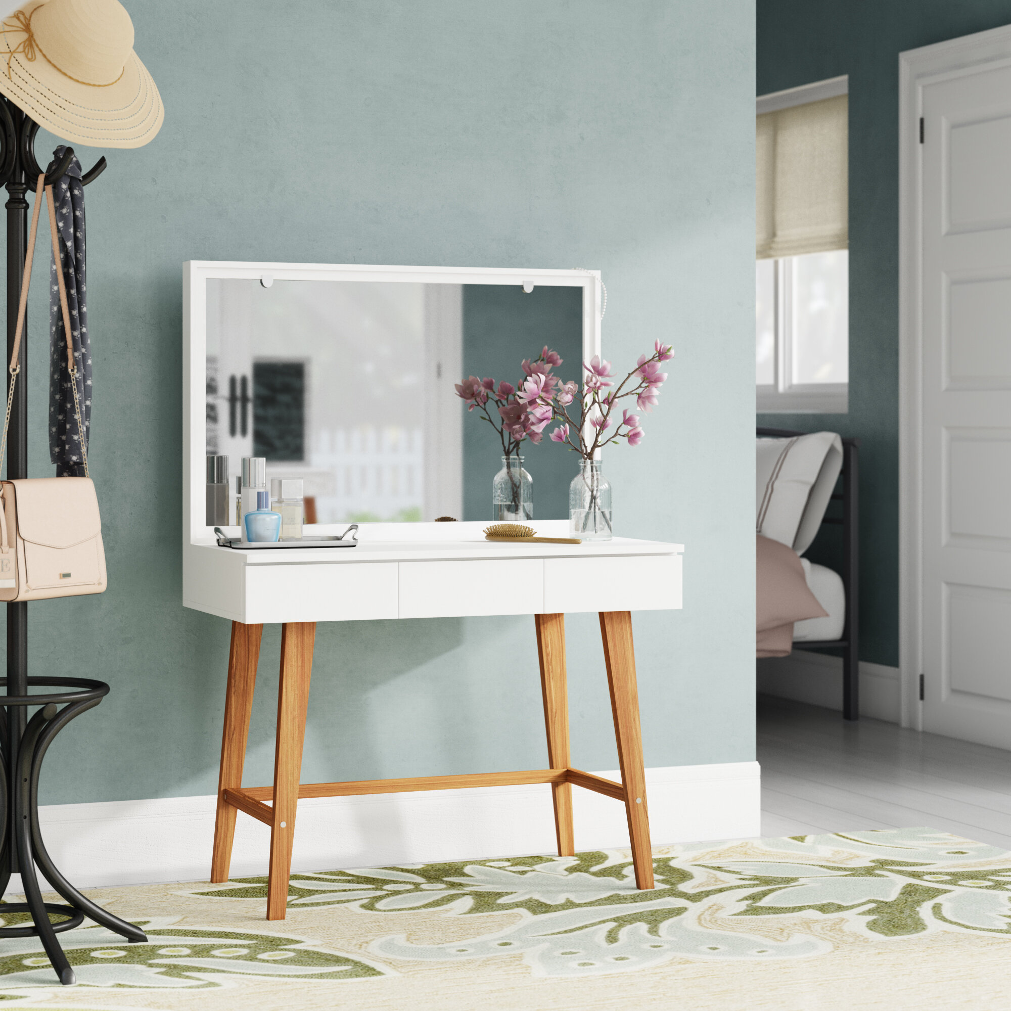 Ebern Designs Krug Vanity With Mirror Reviews Wayfair