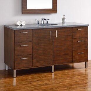 Cordie 60 Single American Walnut Wood Base Bathroom Vanity Set by Orren Ellis