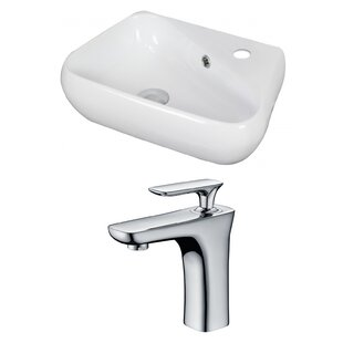 Best Choices Unique Ceramic 18 Wall Mount Bathroom Sink with Faucet and Overflow By American Imaginations
