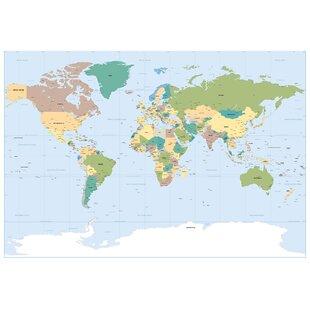 Old world map blue wayfair komar world map wall mural gumiabroncs Image collections