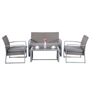 Comer 4 Piece Rattan Sofa Set with Cushions