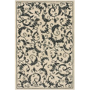 Robbins Hand Tufted Rectangle Contemporary Ivory/Black Area Rug