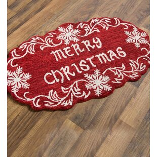 Top Reviews Merry Christmas Snowflake Hand Hooked Wool Red/White Area Rug By Plow & Hearth