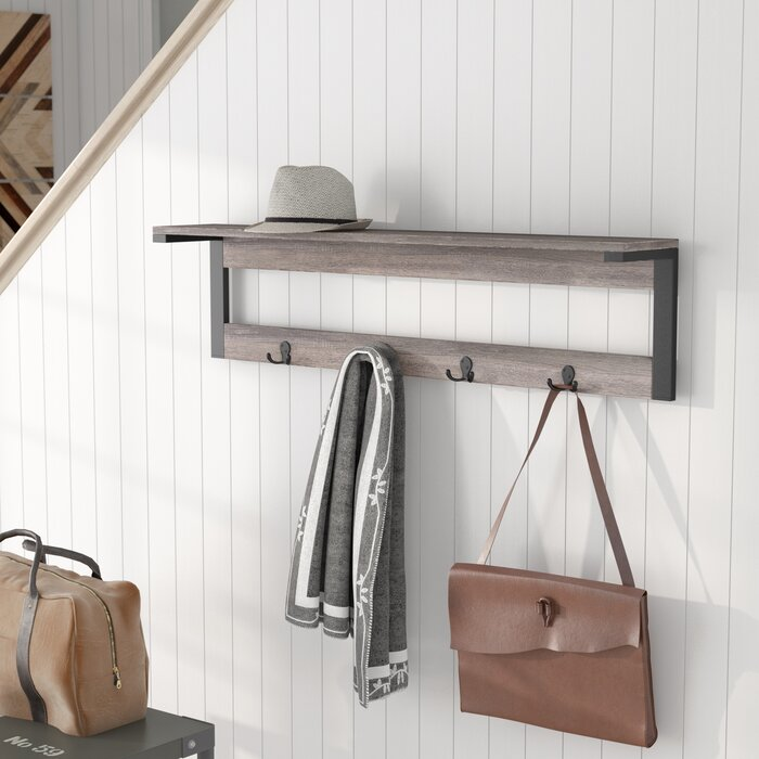 Loon Peak Junien 400 Shelf 40 Hook Entryway Wall Mounted Coat Rack Simple Wall Mounted Coat Rack