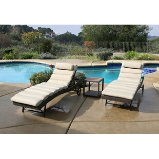Latitude Run Leake 3 Piece Chaise Lounge Set with Cushion