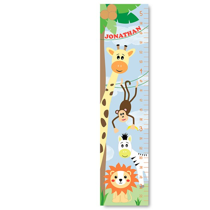 Jolie Prints Personalized Jungle Canvas Decal Growth Chart Wayfair