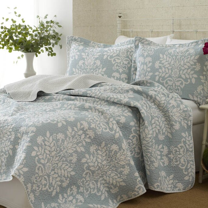 Delightful Rowland 100% Cotton Reversible Coverlet Set By Laura Ashley Home