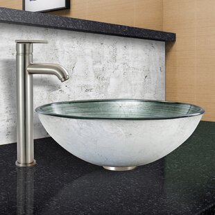 VIGO Simply Silver Glass Circular Vessel Bathroom Sink with Faucet