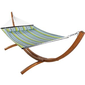 Eggers Solid Wood Curved Arc Polyester Hammock with Stand