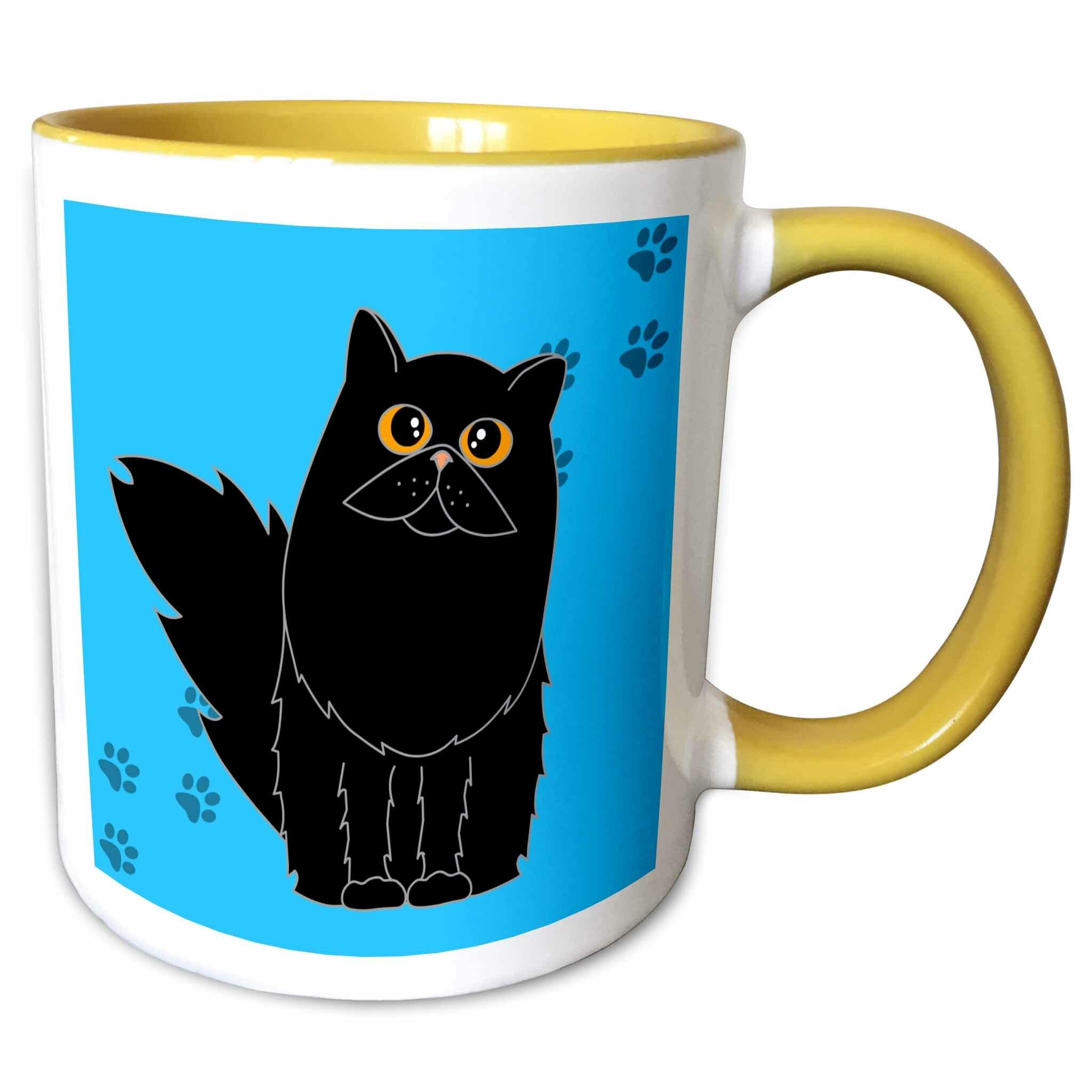 Symple Stuff Hoang Black Long Haired Persian Cat Paw Coffee Mug Wayfair