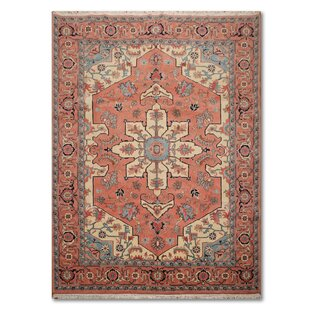 One-of-a-Kind Elisabeth Traditional Persian Hand-Knotted 8'8 x 11'6 Wool Rose/Ivory/Blue Area Rug Isabelline