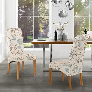 Linen Upholstered Dining Chair in BeigeGreen Set of 2 by wangcai