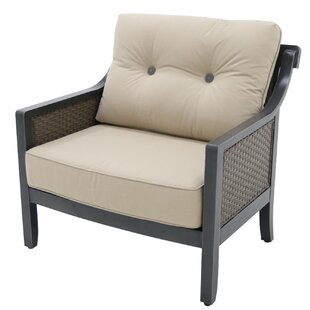 Gracie Oaks Hew Aluminum Outdoor Wicker Cuddle Patio Chair with Cushion (Set of 4)