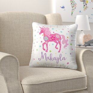 Kisner Personalized Unicorn Sequin Throw Pillow