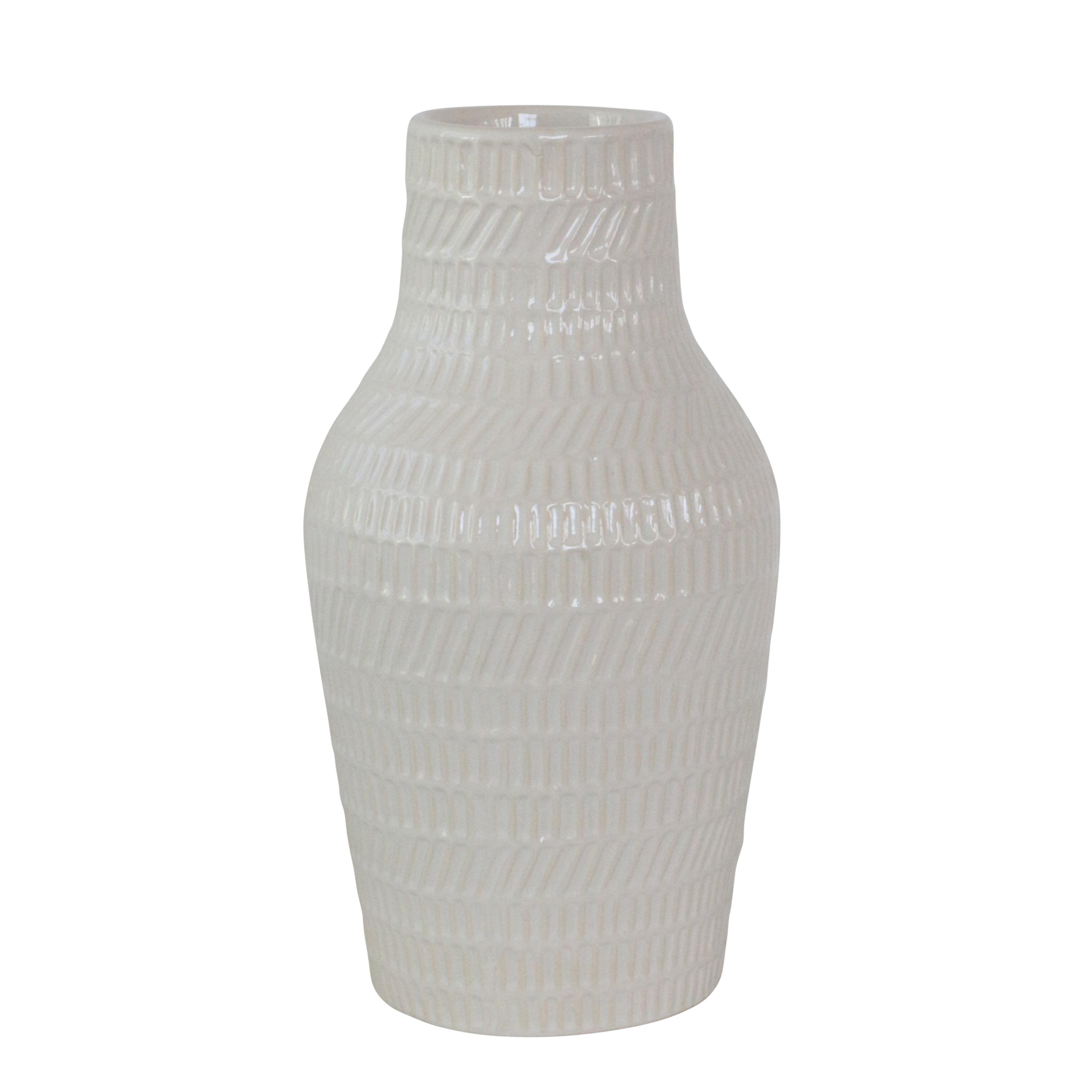 Ebern Designs Amanoa White 12 Ceramic Table Vase Wayfair