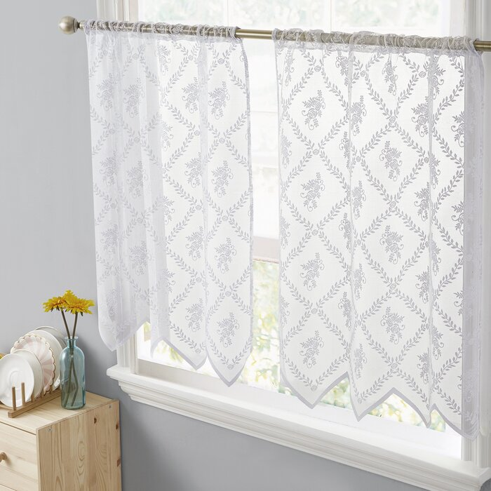 Adrik Isabella Floral Lace Sheer Rod Pocket Tiers Kitchen Curtain (Set of 2)