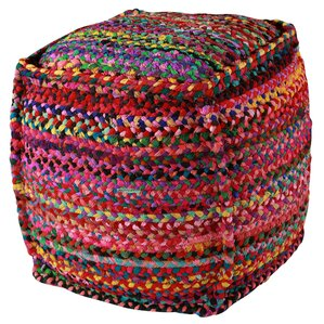 Zephra Brilliant Ribbon Pouf Ottoman by Bungalow Rose