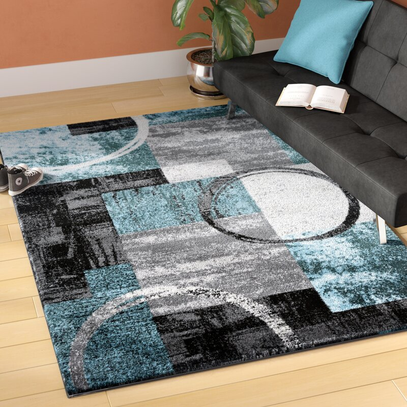Sperling Circle Gray Blue Area Rug