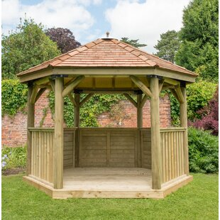 4 X 3.5m Wooden  Gazebo With Cedar Roof By Sol 72 Outdoor