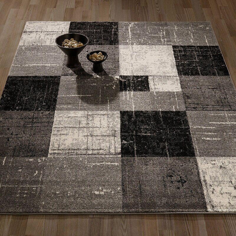 Black Area Rugs casamode functional furniture city geometric/square tiles gray
