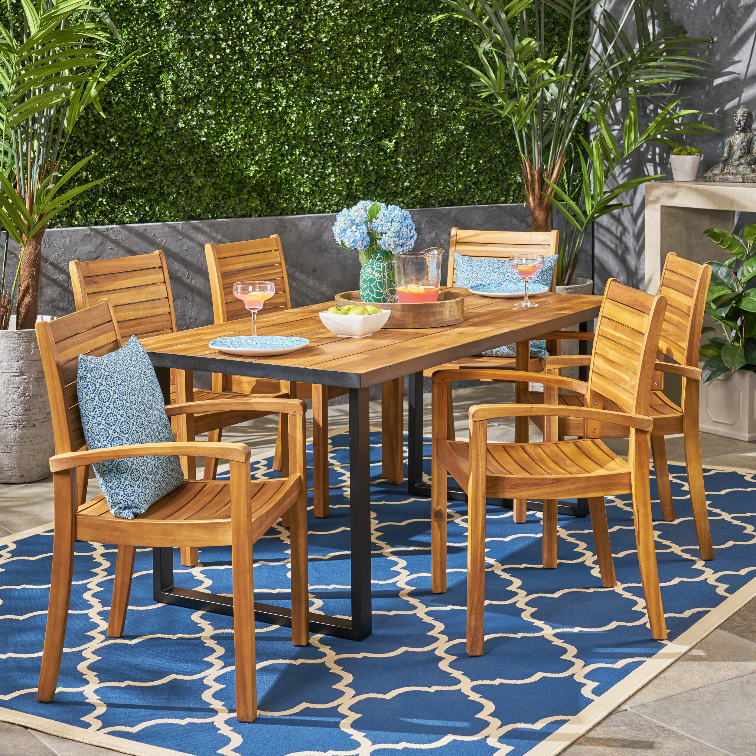 Breakwater Bay Restivo 7 Piece Teak Dining Set With Cushions Wayfair