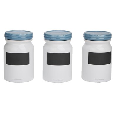 Mind Reader 3 Pc Small Ceramic Jar Set With Lids Round Canister Sets Food