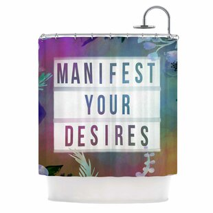 East Urban Home AlyZen Moonshadow Manifest Your Desires 1 Typography Shower Curtain
