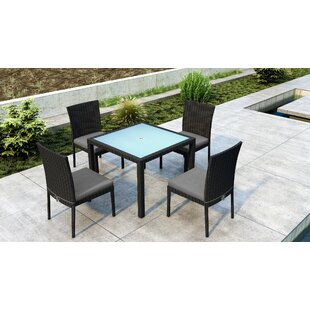 Everly Quinn Glendale 5 Piece Dining Set with Sunbrella Cushion