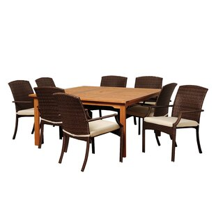 Brighton 9 Piece Square Wood Dining Set With Cushions
