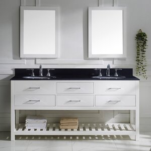 Rishaan 73 Double Bathroom Vanity Set with Black Galaxy Top and Mirror