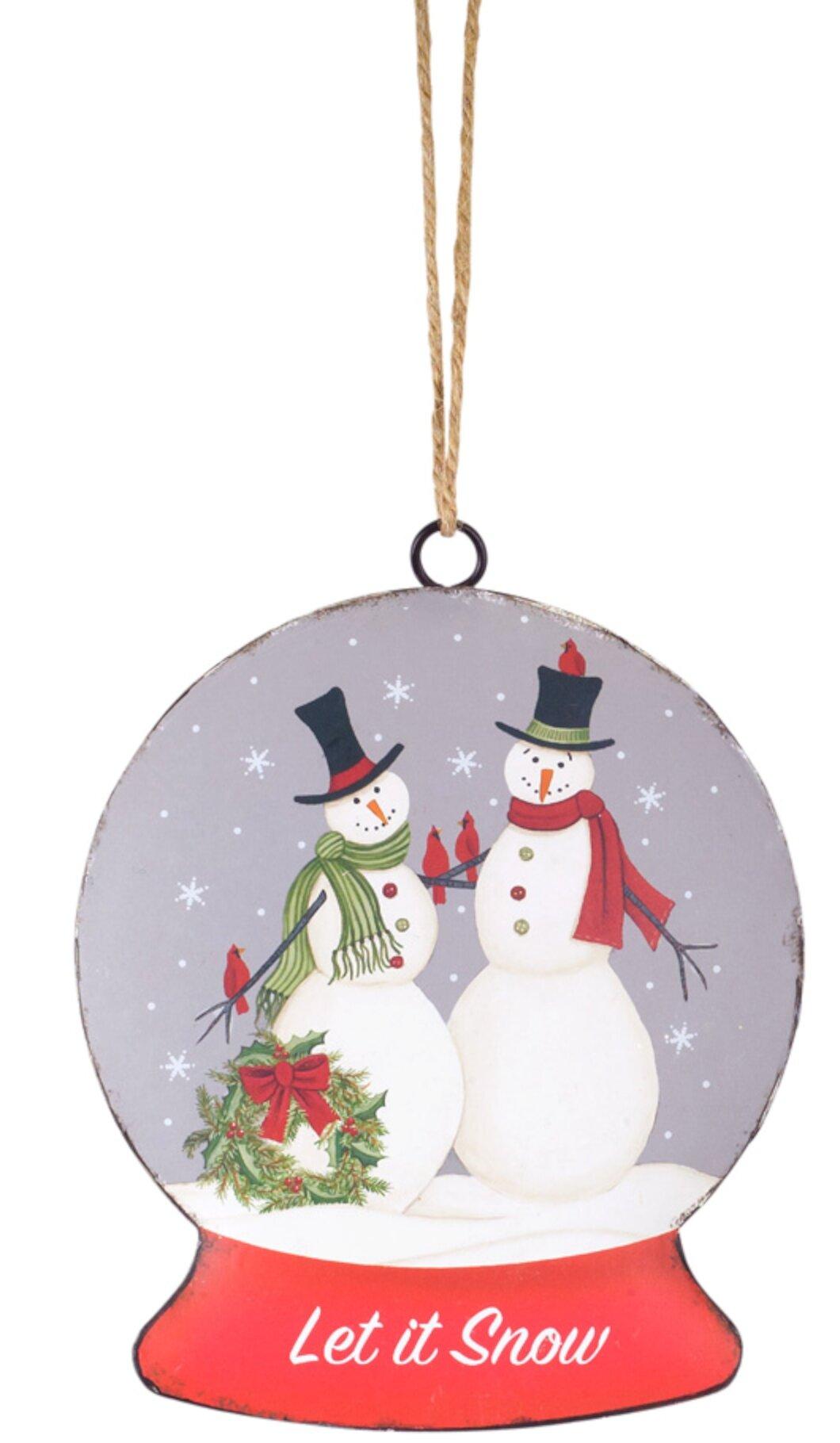 Melrose Intl Snowman With Wreath Snow Globe Disc Set Of 12 7 H Metal Wayfair