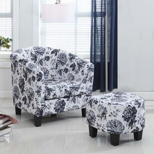 Latitude Run Salter Floral Barrel Chair and Ottoman