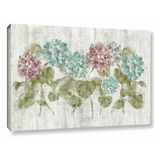 Vibrant Row of Hydrangea Painting Print on Wrapped Canvas