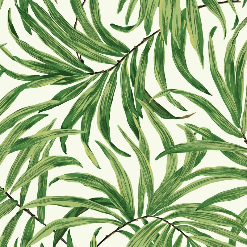 "Ashford Tropics 27' x 27"" Bali Leaves Wallpaper Roll. Shop Drew's Honeymoon House! {Craft Room: Resource Guide & Sources}"