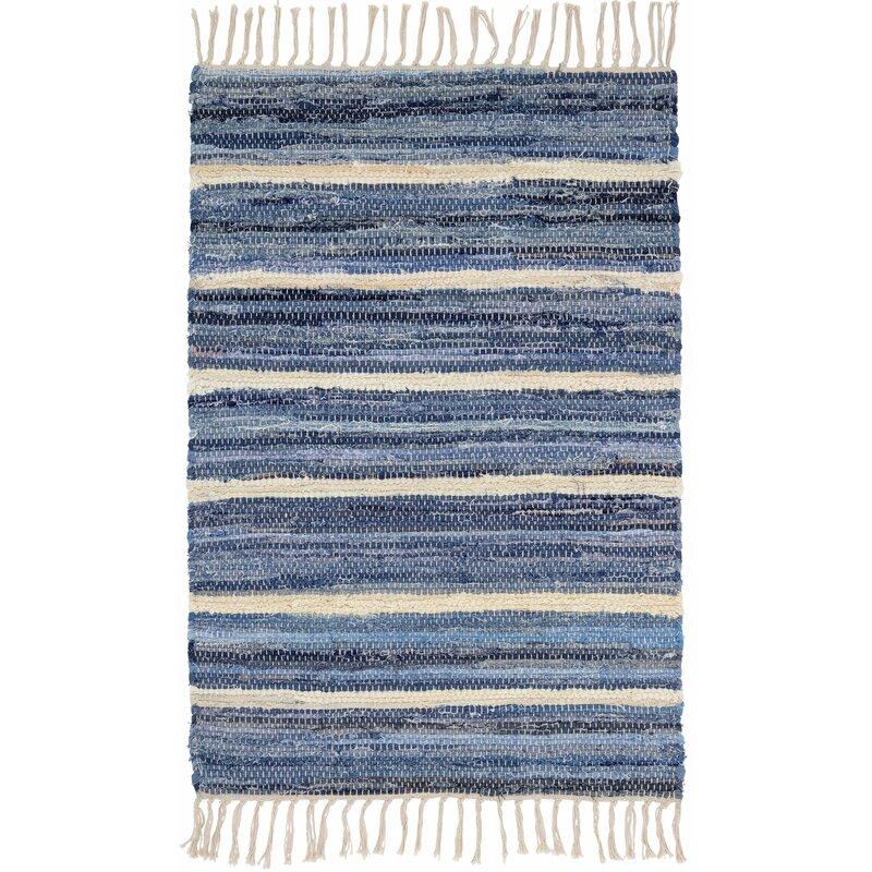 Dash And Albert Rugs Denim Rag Striped Handmade Flatweave Blue Ivory Area Rug Wayfair