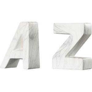 u201cAu201d and u201cZu201d Ceramic Book Ends (Set of 2)