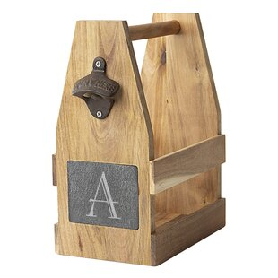 StowtheWold Personalized Acacia/Slate Beer Carrier