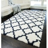 Dream Quatrefoil Ivory/Navy Area Rug by House of Hampton