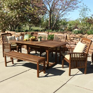 Widmer 6 Piece Acacia Patio Dining Set With Cushions
