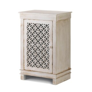 Ardilla Geometric Cutwork Distressed 1 Door Accent Cabinet by Bungalow Rose SKU:CB892485 Purchase