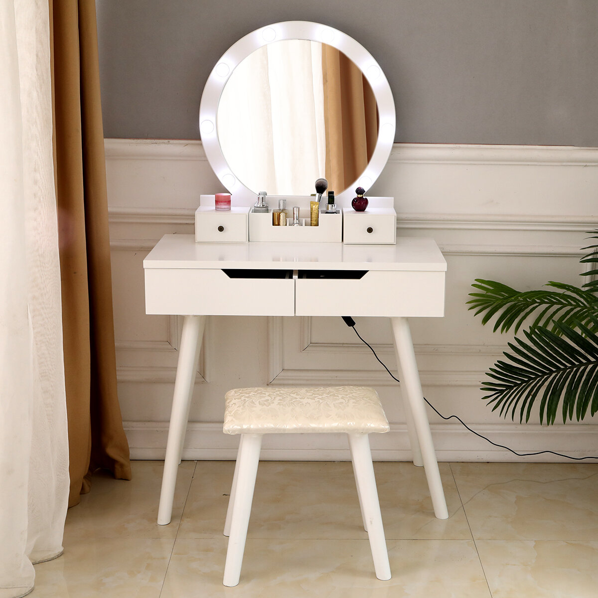 Everly Quinn Holl Vanity Set With Stool And Mirror Reviews Wayfair