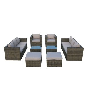 Glover 8 Piece Rattan Sofa Seating Group with Cushions