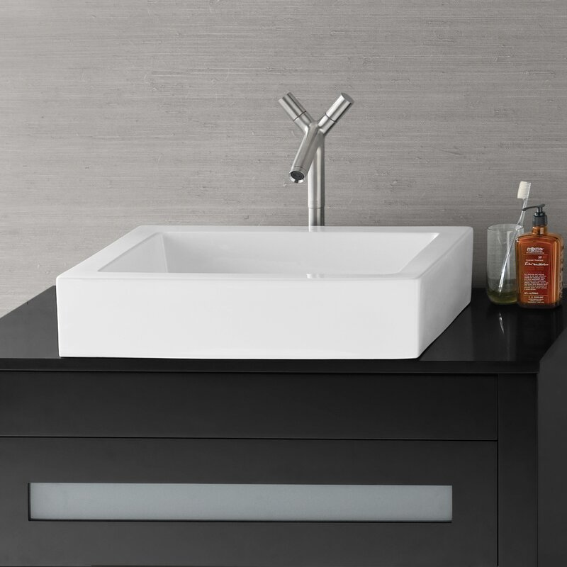 Charmant Format Ceramic Rectangular Vessel Bathroom Sink